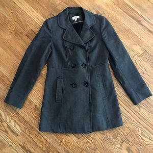LOFT Grey Double Breasted Trench Coat